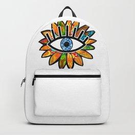 Greek Evil Eye Green Flower Backpack
