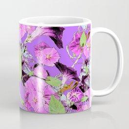 Lilac Purple Dark Morning Glory Vines art Coffee Mug