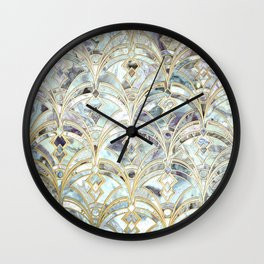 Pale Bright Mint and Sage Art Deco Marbling Wall Clock