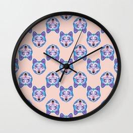 Henna Wolf Pattern Wall Clock