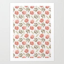 Vintage Roses Pattern Art Print