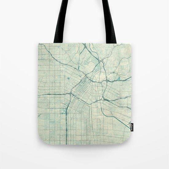Los Angeles Map Blue Vintage Tote Bag