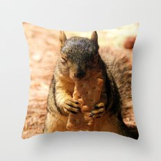 Contented Squirrel. © J. Montague. Throw Pillow