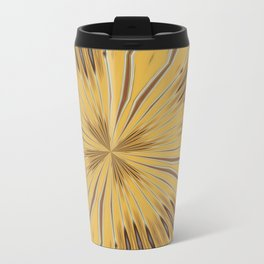 Yellow and Ochre Flower Pattern Abstract 2 Travel Mug