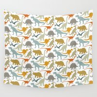 dinosaur Wall Tapestries featuring Dinosaur Friends by Jill Byers