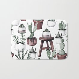 Happy Potted Cacti in Rose Gold Pots Bath Mat