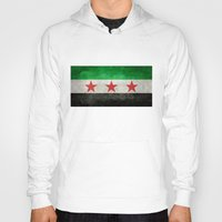 "islam Hoodies featuring The Syrian ""independence flag""  retro style version by Bruce Stanfield"
