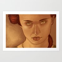 sansa Art Prints featuring Sansa Portrait by Saucy Artwork