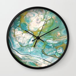 Ice & Gold - Abstract Acrylic Art by Fluid Nature Wall Clock