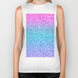 Modern colorful glitter texture print Biker Tank