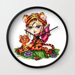 Mandi and Sheeba by  Heather Valentin Lacy Sunshine  Wall Clock