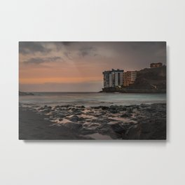 Sunset with long exposure on a beach of Tenerife. Metal Print