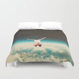 Falling with a hidden smile Duvet Cover