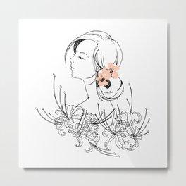 Girly Cherry Blossom Metal Print