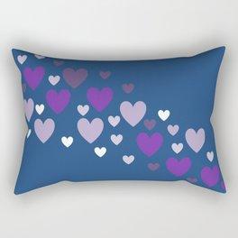 Asymmetrical hearts (blue, lavender & purple) Rectangular Pillow
