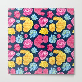 Beautiful Bright Floral Pattern Metal Print
