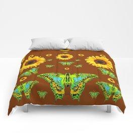 COFFEE BROWN SUNFLOWERS & GREEN MOTHS Comforters