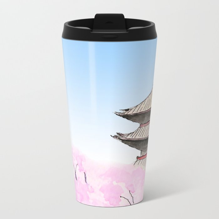 Temple and sakura Metal Travel Mug