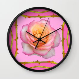ROSE & RAMBLING THORNY CANES PINK BORDER PATTERNS Wall Clock