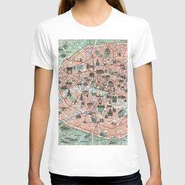 Vintage map of Paris T-shirt