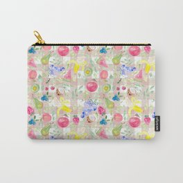 Watercolor Fruits on blush pink gingham Carry-All Pouch