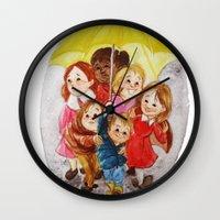 hero Wall Clocks featuring Hero by Erika Meza