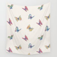 butterflies Wall Tapestries featuring Butterflies by Tracie Andrews