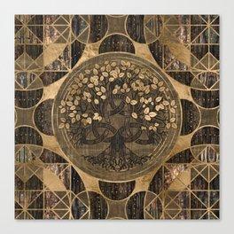 Tree of life -Yggdrasil - Wood Bark and Gold Canvas Print