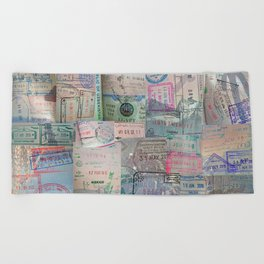 A Celebration of Passport Stamps Beach Towel