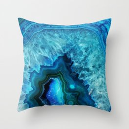 Bright Blue Agate Throw Pillow