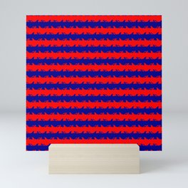 Australian Flag Blue and Red Shark Attack Stripes Mini Art Print