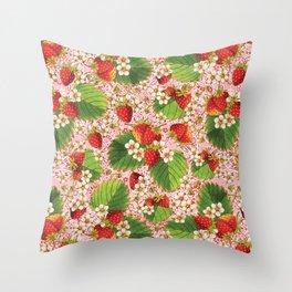 Pink Paisley Strawberries Throw Pillow
