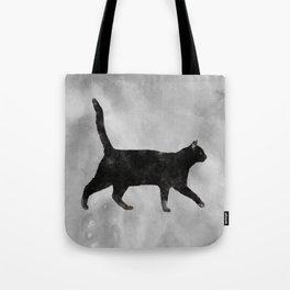 Black Watercolor cat Tote Bag