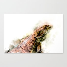 Iguana in watercolor Canvas Print
