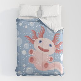Cute Axolotl and The Bubbles Comforters