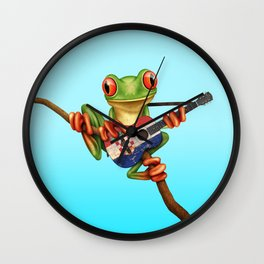 Tree Frog Playing Acoustic Guitar with Flag of Croatia Wall Clock