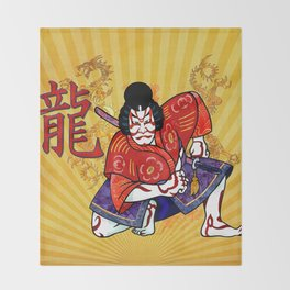 Kabuki Japanese Folk Art Motif Throw Blanket