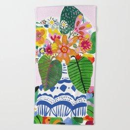 Abstract Flower Bouquet Beach Towel