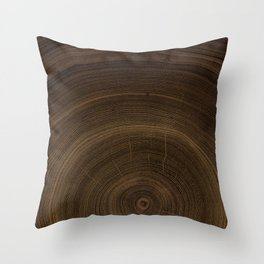 Detailed rich dark brown cut wood tree with circle growth rings pattern Throw Pillow