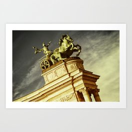 Statue of War on the Heroes Square in Budapest Art Print