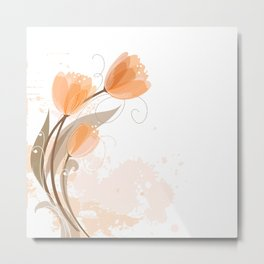 Abstract Peach Watercolor Tulips Metal Print