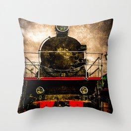Vintage Steam Engine Locomotive - Old Timer Throw Pillow
