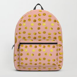 Gold polka dots pink Backpack