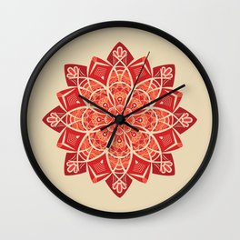 Sunny bright rays of floral mandala Wall Clock