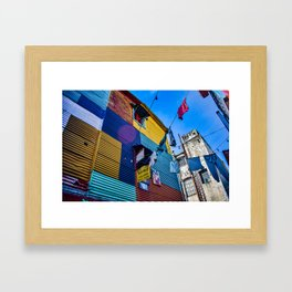 Washing time in La Boca, Buenos Aires, Argentina Framed Art Print