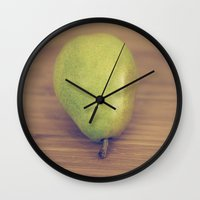 pear Wall Clocks featuring Pear by Jessica Torres Photography