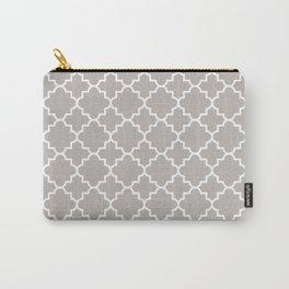 Classic Quatrefoil pattern, warm grey Carry-All Pouch