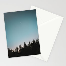 Moonlight trees sunset blue Stationery Cards