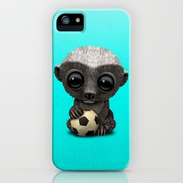 Cute Baby Honey Badger With Football Soccer Ball iPhone Case