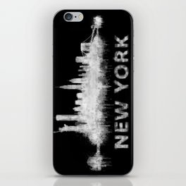 new york nyc city cityscape watercolor white v6 iPhone Skin